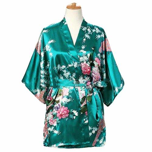 Green - Women s Silk-like Pajamas Short Bathrobe Kimono Robe Peacock  Blossoms on OnBuy 931cef512