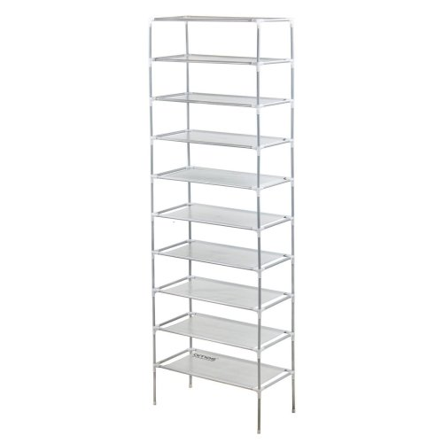 AMOS 10-Tier Extendable Shoe Organiser - White | Shoe Storage Rack