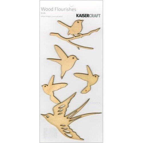 Wood Flourishes 5-Pkg-Birds