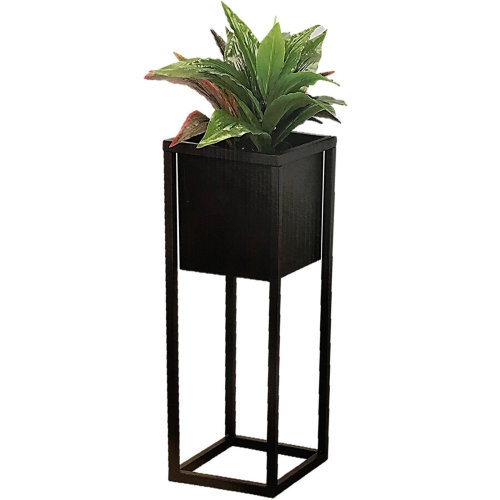 Black Square Metal Flower Pot On A Stand