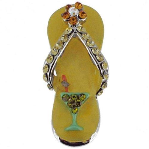a07fafc3f Fantasyard Swarovski Crystal Flip Flop Silver Pendant - Light Golden -  0.375 x 1.125 in. on OnBuy