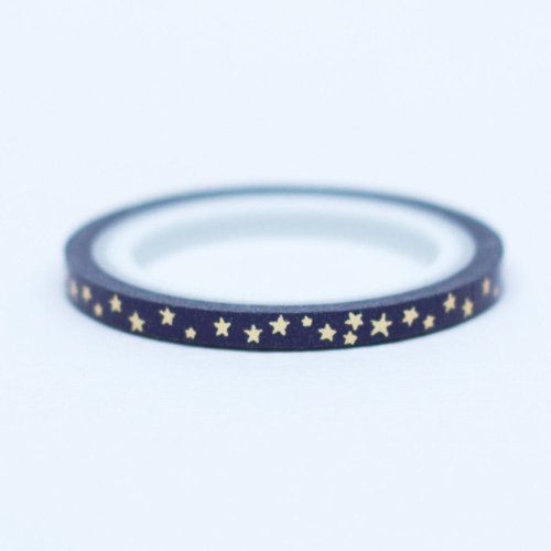 Navy Blue Thin WASHI GOLD STAR 5M Xmas Craft
