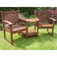 Henley Love Seat Hardwood Garden Bench Corner Companion Set