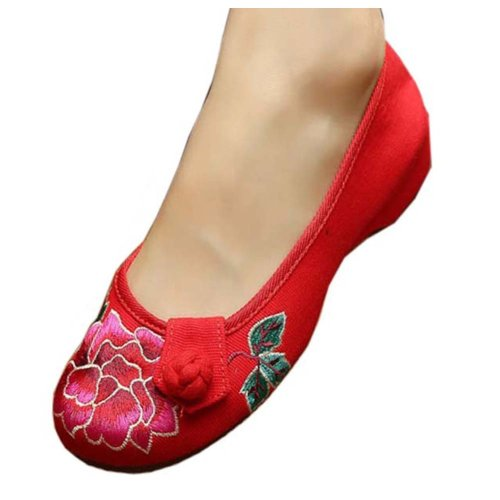 Vintage Design Chinese Shoes Embroidered Flats Cheongsam Shoes, #04