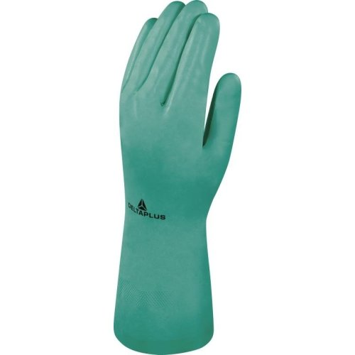 Delta Plus VE801 Cotton Flock Nitrile Synthetic Safety Gloves Green (Various Sizes)