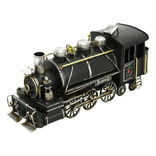 Hand Painted Black Metal Vintage Locomotive Steam Train Engine Decoration Ornament 30Cm