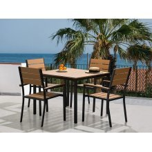 Garden Table and Chairs - Dining Set - 4 Seater - 4 Chairs - Polywood - Brown - PRATO
