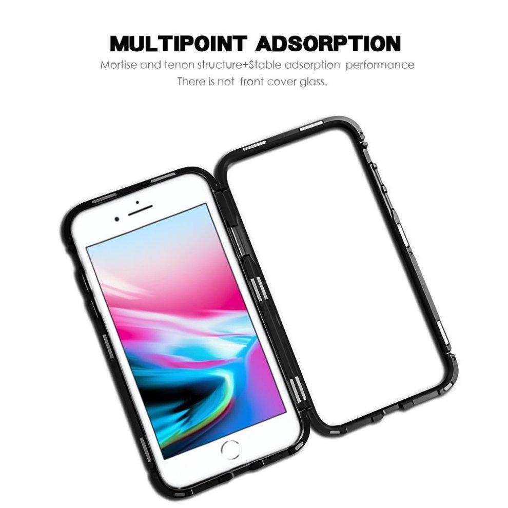 best service 454ea 44d8e LIGHTDESIRE Clear iPhone 8 Plus Case, iPhone 7 Plus Case, Slim Fit Light  Aluminium [Magnetic Adsorption] Bumper Frame Screen Protector Glass Cover...