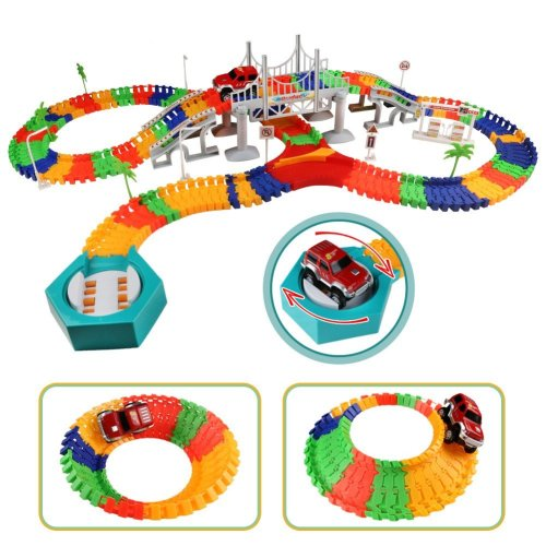 192 Pieces Flexible Track Car Racing Game Variable Operated Track Fun Car  with Bridge and Accessories for Children 3 Years Old and Up