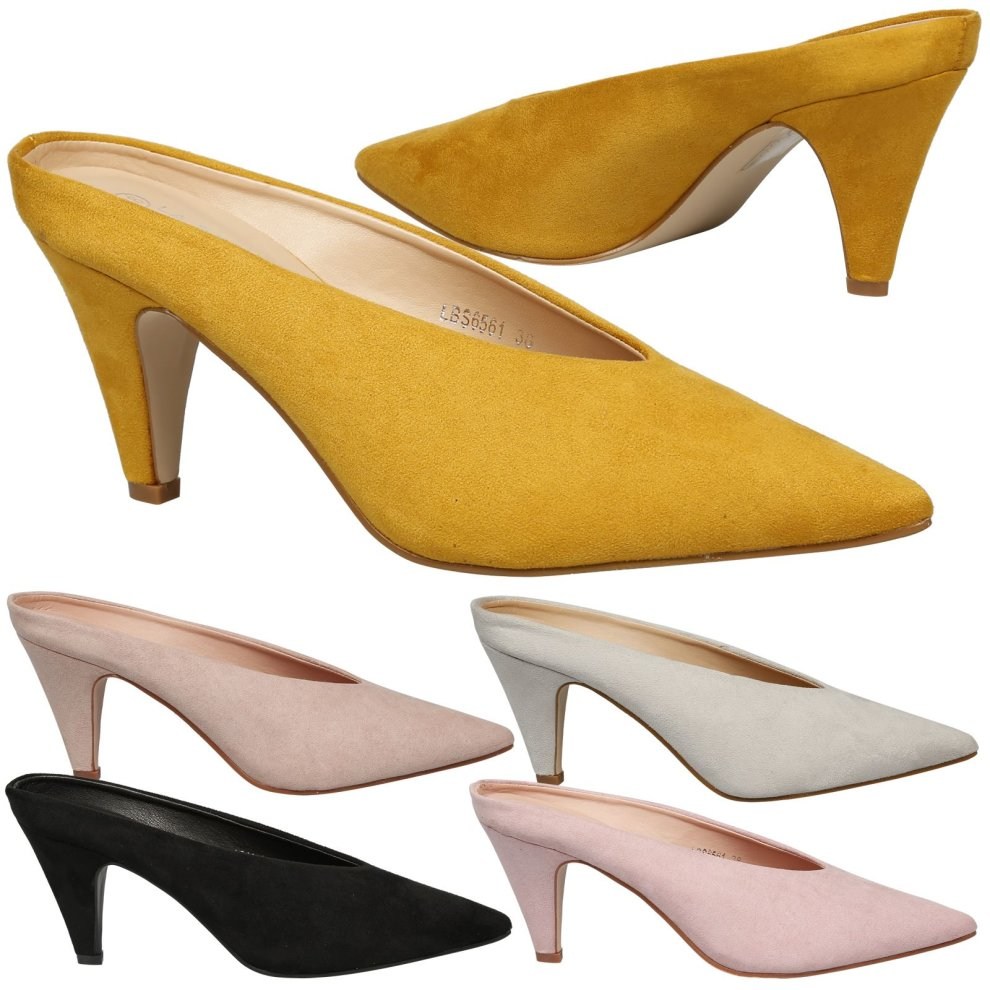 2851f11ffb Neveah Womens Mid Heel Slip On Backless Court Shoes Ladies Pumps Mules Size  New ...