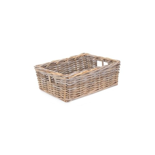 Shallow Kubu Grey Rattan Rectangular Basket