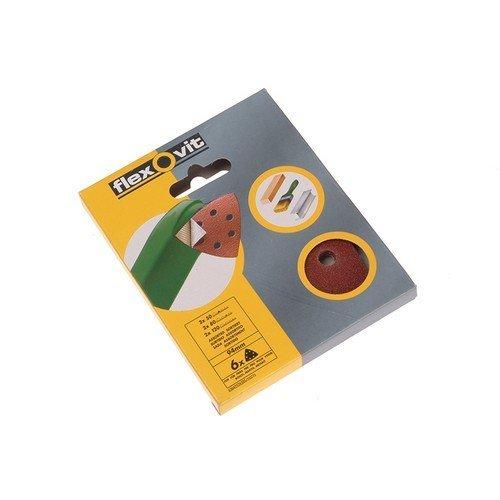 Flexovit 63642526398 Delta Hook & Loop Sanding Sheets 94mm Coarse 50g Pack of 6
