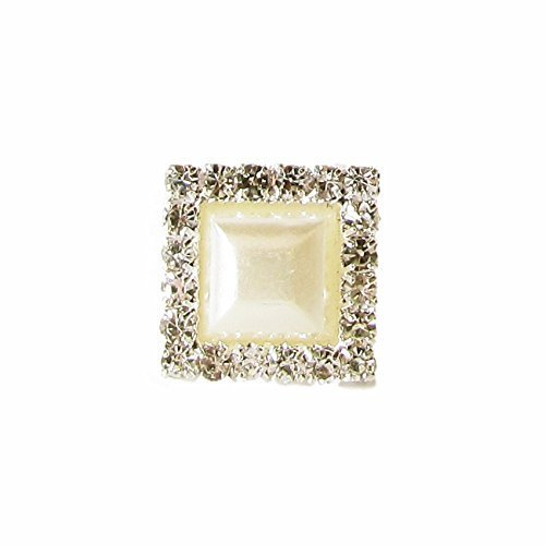10 x Diamante and Pearl Crystal Rhinestone Square Embellishments Sparkly, Weddings Invitaionts, Cards, Crafts