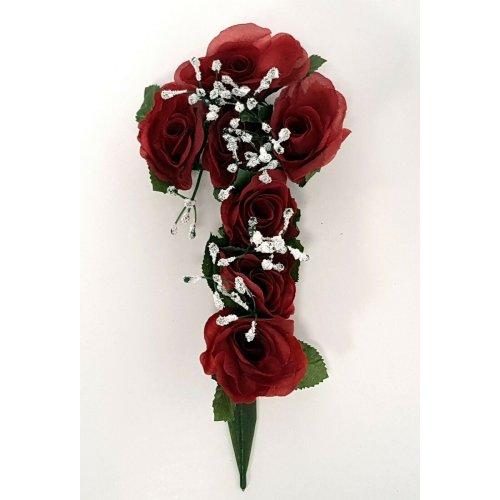 Red Artificial Rose & Gypsophila Flower Cross - 26cm - Memorial & Grave