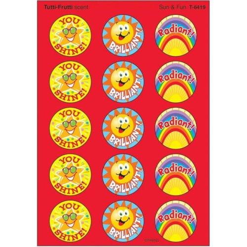 Trend Enterprises T-6419-6 Stinky Stickers Sun & Fun Acid-Free Tutti-Frutti - 60 Per Pack - Pack of 6