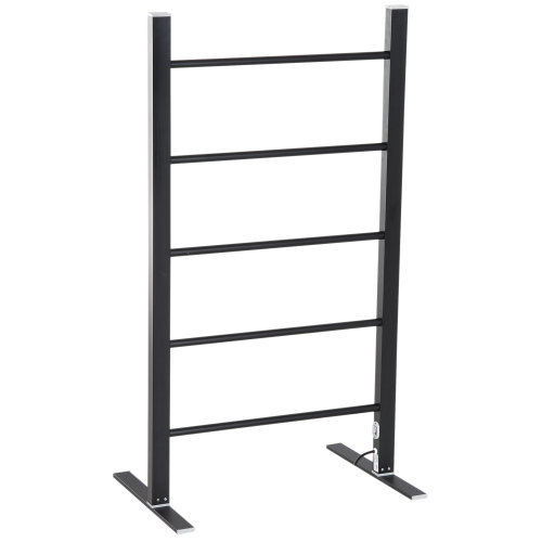 HOMCOM Aluminum Electric Clothing Heated Airer Rack Clothes Towel Dryers Warmer Drying Free Standing Heater Rail  5 Heated rail 100W,black