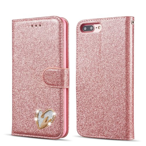 uk availability 258ac fd59a QLTYPRI Glitter Flip Case for iPhone 7 Plus iPhone 8 Plus, Premium PU  Leather TPU Cover with Cute Inlaid Loving Heart Diamond Design [Wrist  Strap]...