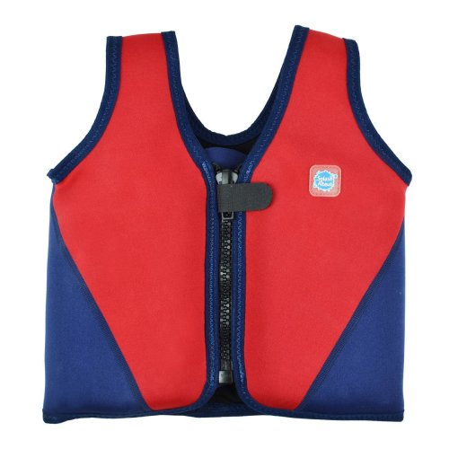 Splash About Kids Neoprene Float Jacket with Adjustable Buoyancy - Red/Navy, 3-6 Years