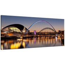 River Tyne Bridges Sunset Newcastle and Gateshead Panorama Canvas Print Wall Art Picture