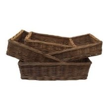 Set of 4 Double Steamed Wicker Storage Tray