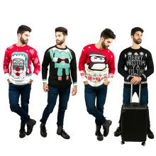 Miss Lulu Men Thicker Christmas Jumper Rudolph Olaf Reindeer Letter Knitted Sweater