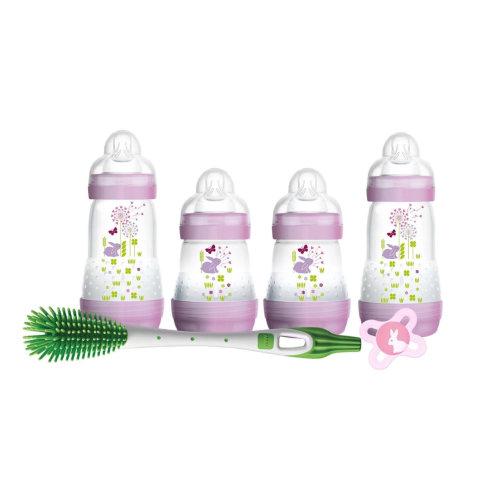MAM Newborn Feeding Set - Purple | Self-Sterilising Baby Bottles Set
