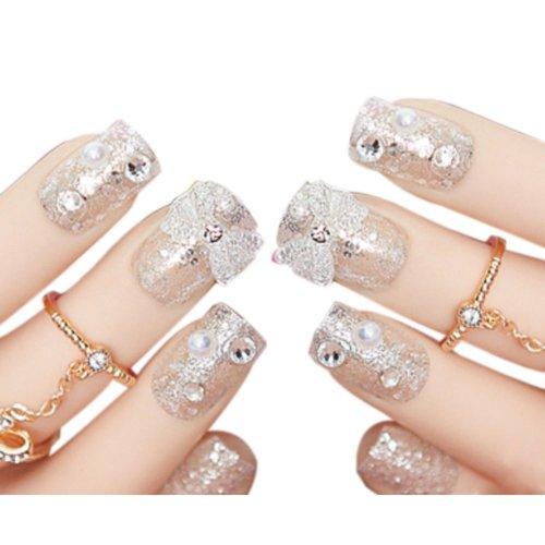 Set of 24 Beautiful Crystal Style Makeup Set DIY 3D Design False Nails, White