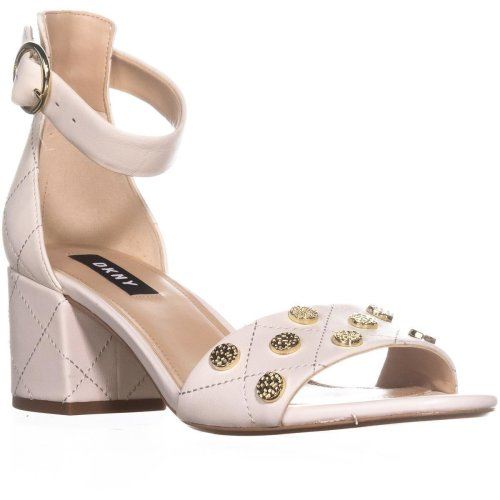 DKNY Henli Ankle Strap Block Heel Sandals, Quilted/Ivory, 7.5 UK