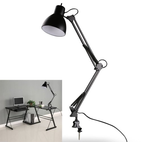 LED Desk Lamp - BANGWEIER Black Flexible Swing Arm Clamp Mount Lamp Office Studio Home Table Desk Light
