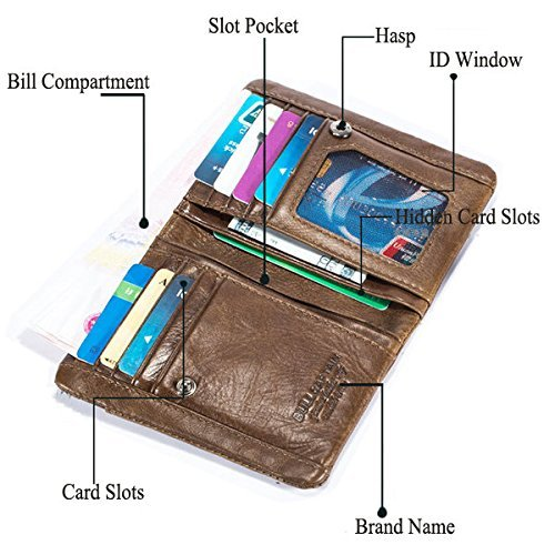 Genuine Leather Wallet, Bifold Multi Card Capacity Wallet with Zippers