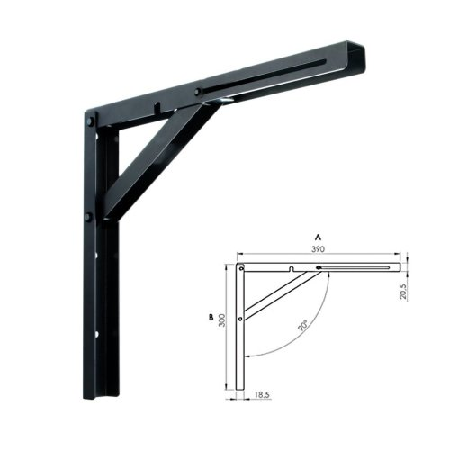 NEW Black Designer Wall Mounted Folding Quality Shelf Bracket 39x30cm
