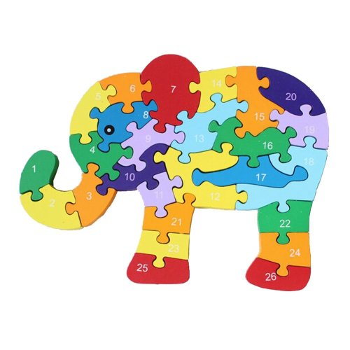 Funny Digital & Letter Wooden Blocks Puzzles Educational Puzzle Elephant