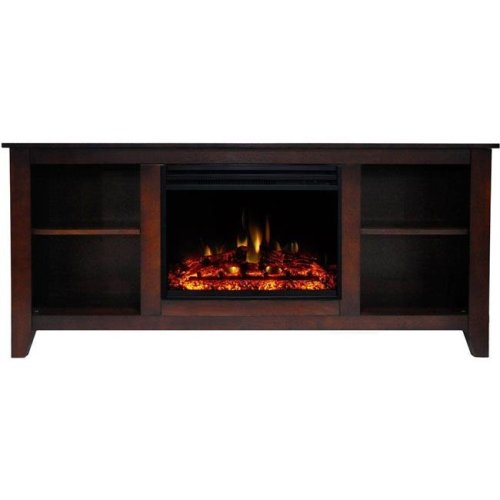 Cambridge CAM6226-1MAHLG3 Santa Monica Electric Fireplace Heater with 63 in. Mahogany TV Stand Enhanced Log Display, Multi Color Flames & Remote