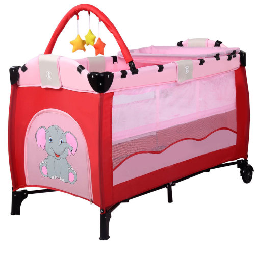 Baby Crib Foldable Playpen Portable Pink
