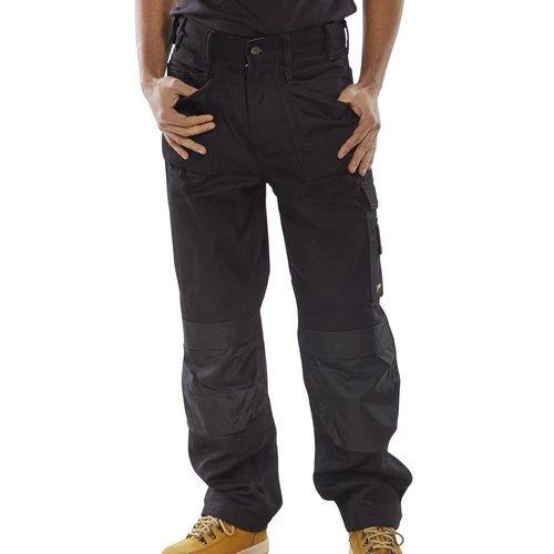 "Click CPMPTBL30T Premium Multi Purpose Rugged Heavy Duty Work Trousers Black 30"" Waist Long Leg"