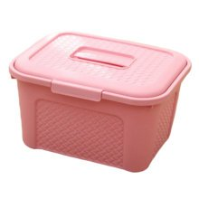 Multipurpose Box Storage Basket Organizer Chest with Handle for Home Use, Pink