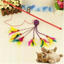 1pcs Colorful Cat Teaser For Pets Cat Toy Plastic and Feather Cat Toy