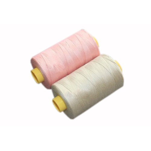 1 Pink & 1 Beige Spools Polyester Sewing Thread 800 Yards Each (3.1 by 6.5cm)