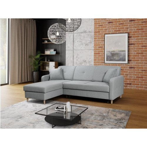 Left Corner Sofa Bed Malmo with Storage, Fabric