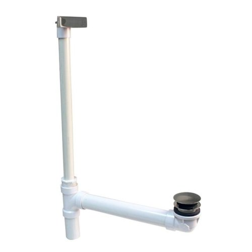 Westbrass 493244HLD-07 Hidden Linear Overflow Schedule 40 PVC Tub Waste with ADA Approved Tip-Toe Drain in Satin Nickel