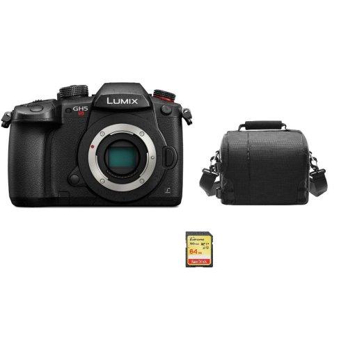 PANASONIC DMC-GH5S Body Black + 64GB SD card + camera Bag