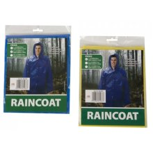 Blue Adult's Raincoat -  mens boys reuseable peva waterproof raincoat hood yellow blue color