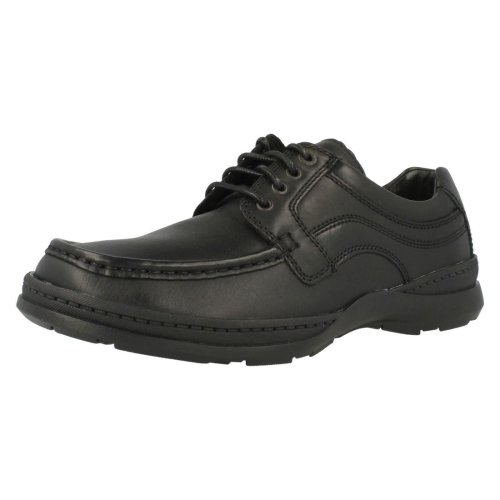Mens Clarks Shoes Line March - Black Leather - UK Size 10H - EU Size 44.5 - US Size 11W
