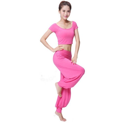 Best Yoga Apparel Sexy Yoga Pink Pant Gym Clothes Dance Outfit Fitness Suit