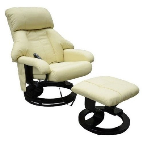 Homcom Luxury Fuax Leather Recliner Electric Massage Chair Heat with Foot Stool Cream