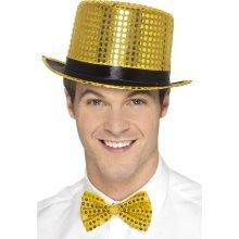 a2d55c1ec0b Gold Men s Sequin Top Hat - adults sequin top hat fancy dress accessory  mens ladies ringmaster theatre coloured show time costume