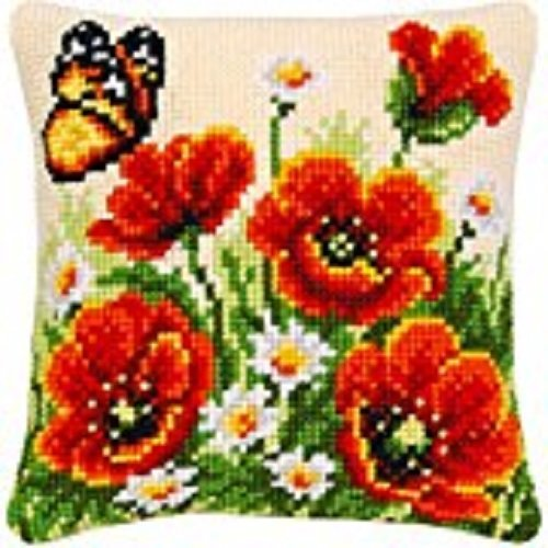 "Latch Hook Complete Cushion Cover Kit""Poppies and Butterfly"" 43x43cm"