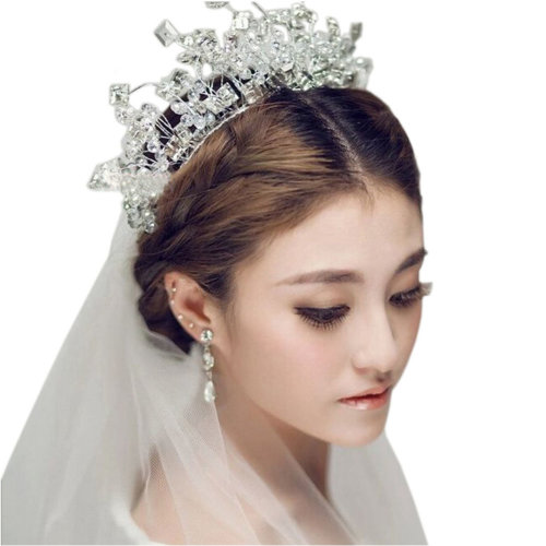 Flower Rhinestones Beads Bridal Wedding Lace Headband Hair Accessories, K