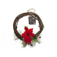 "8"" Rattan Wreath With Poinsettia & Berries - 8 -  8 rattan wreath poinsettia berries"