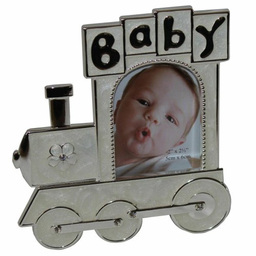 "Juliana Silver-plated Cream Epoxy ""Train Shape"" Baby Photo Frame"